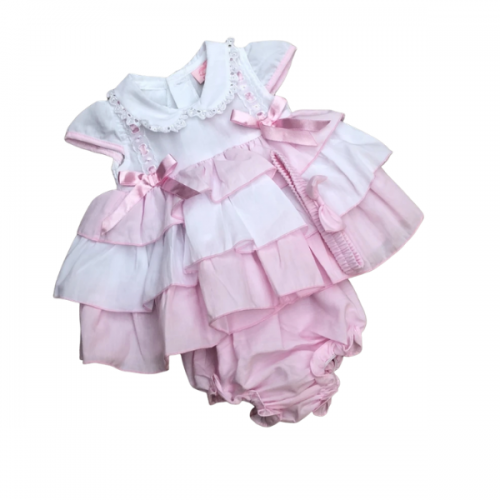 NEW IN! BABY GIRLS PINK/WHITE RUFFLE DRESS SET WITH MATCHING HEADBAND